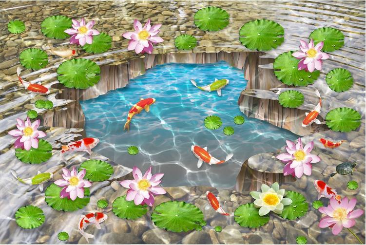 3D Pond fish leaf 2533 Floor WallPaper Murals Wall Print Decal 5D AJ WALLPAPER