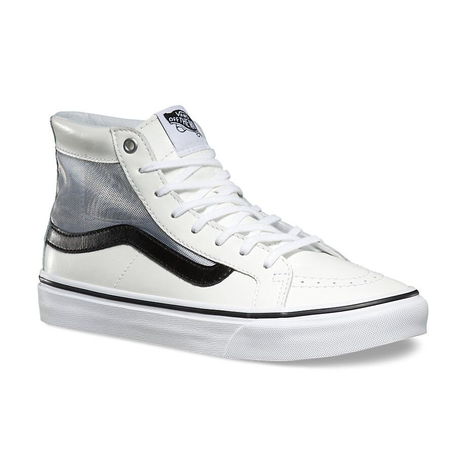 VANS Sk8 Hi Slim Cutout (Mesh) White/Black Leather Skate Shoes WOMEN'S 9