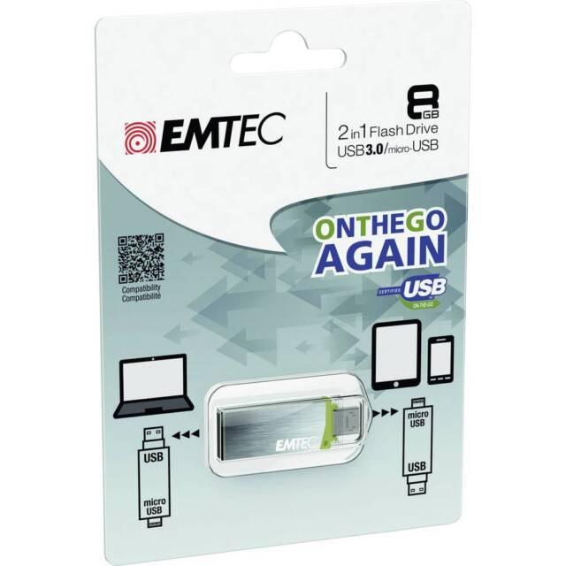 USB 2en1 USB 3.0  micro-USB OTG Emtec S220 Mobile & Go 8GB USB-stick OTG S220 8G
