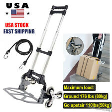 Climbing Stair Cart Folding Hand Truck Portable Adjustable Trolley 6 Wheel Rope