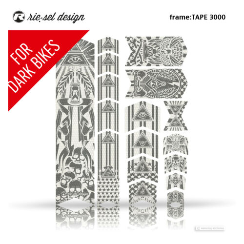 Riesel Design Bande 3000 Frameguard Vélo de montagne cadre protection Stickers Illuminati Gris