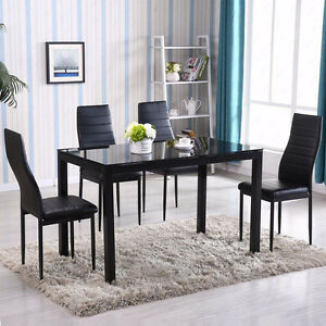 5 Piece Dining Table Set 4 Chair Glass Metal Kitchen Room Breakfast