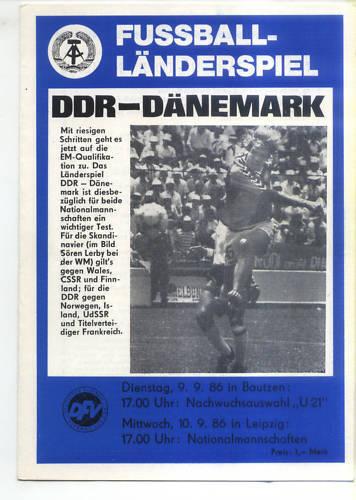 Landerspiel 10 09 1986 Ddr Denmark Danemark Fussball Sport