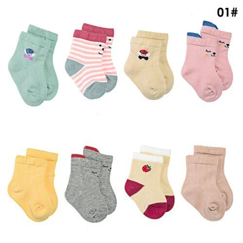 8 Pairs Newborn Toddler Infant Baby Boy Girl Anti-Slip Cute Cartoon Cotton Socks