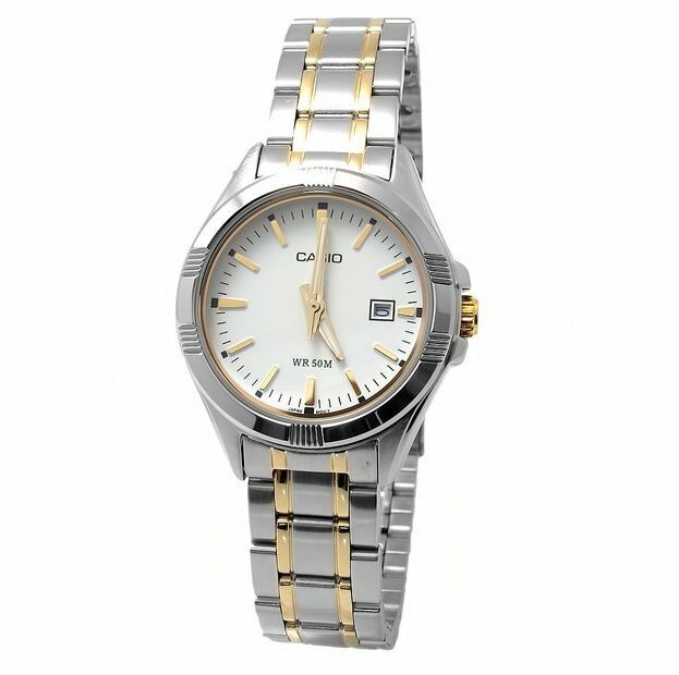 LTP-1308SG-7A White Ladies Watches Casio Steel Band Analog New