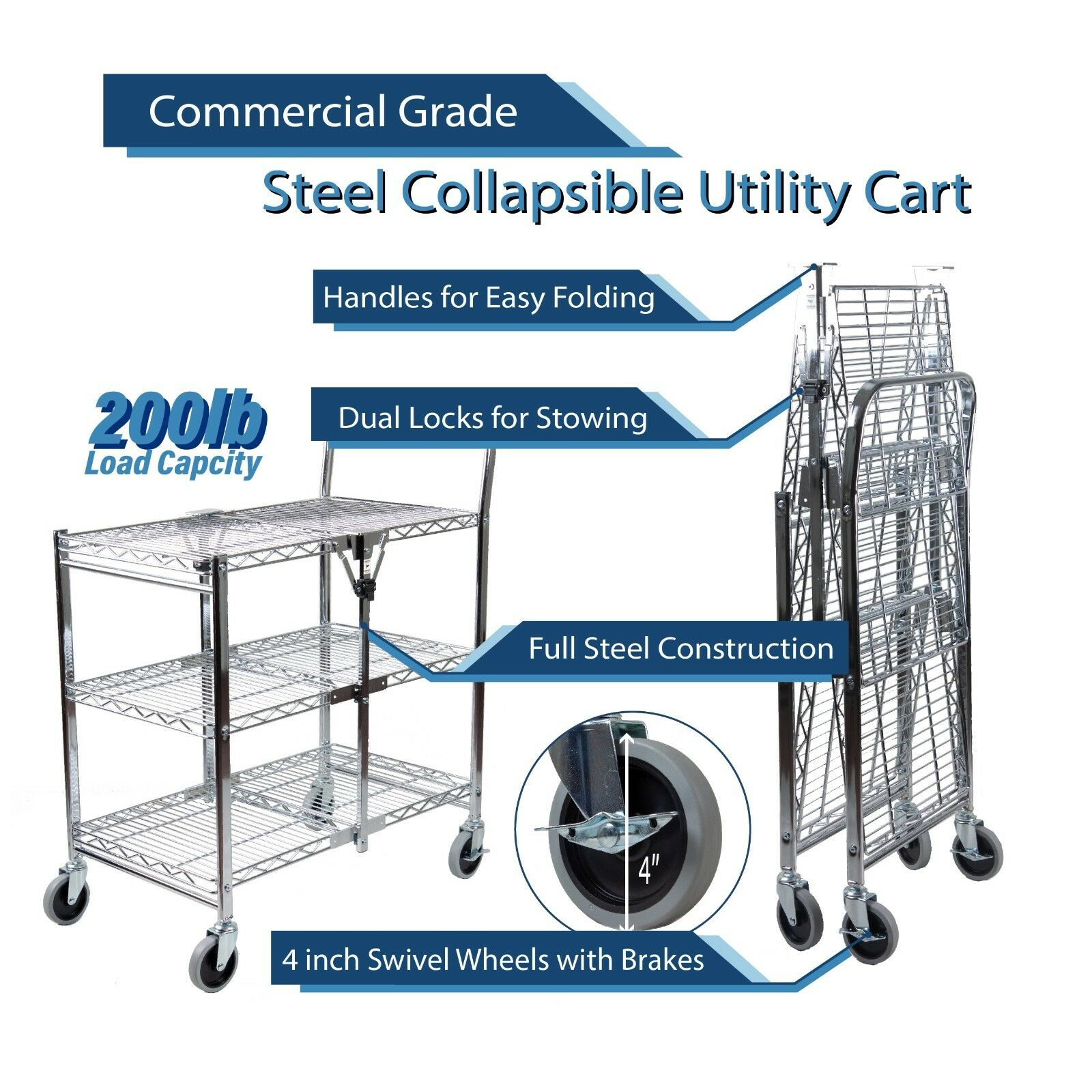 3 Tier Heavy Duty Wire Foldable Commercial Grade Utility Cart with Wheels