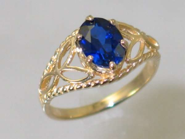 Created bluee Sapphire, 10KY or 14KY gold Ladies Ring, R137-Handmade