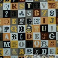 Boneful Fabric Fq Flannel Cotton Quilt Gold Letter Block Vtg Alphabet Number