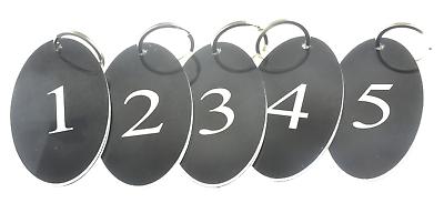 Affidabile Confezione Da 5 Portachiavi,chiave Etichette - Numerati Numeri 1 A 5,nero Ovale