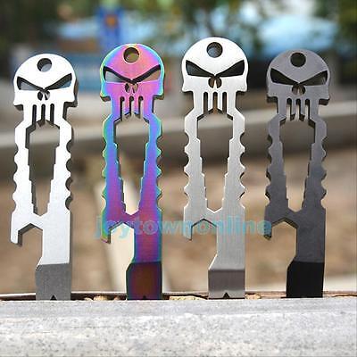 EDC Tactical Multi Tool Stainless Steel Skull Key Ring Chain Schlüsselanhänger T