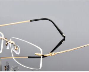 d4faf8729f2e Image is loading Rimless-Alloy-Gold-Eyeglass-frames-Women-Men-Glasses-