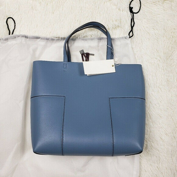 cf5080f6314158 Auth Tory Burch Ladies Block T Leather Mini Tote Crossbody Bag in Blue for  sale online   eBay