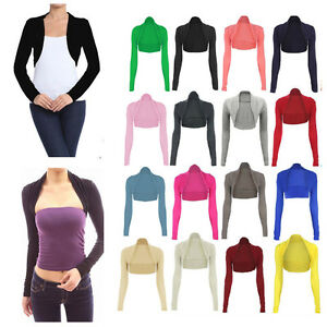 Womens-Plain-Long-Sleeves-Cropped-Bolero-Shrug-Top-Ladies-Cardigan-Plus-Size8-26