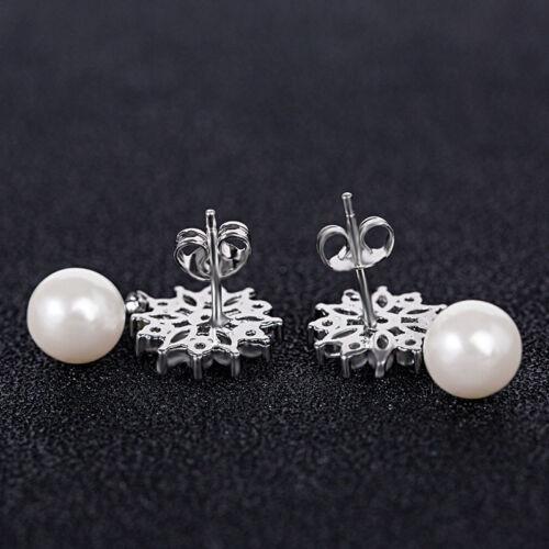 Magnifique 14k or blanc rempli Pendants d/'oreilles pour femmes blanc perle Boucles d/'oreilles