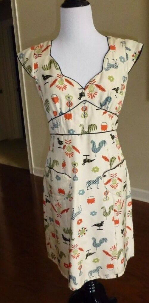 Anthropologie Nanette Lepore RARE Farm animals Shift Dress, Madmen style, Size 4