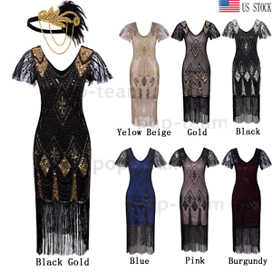 Womens-Vintage-1920s-Flapper-Gatsby-20s-Wedding-Party-Evening-Dress-Plus-Size