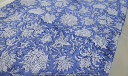 5 Yard Indian Hand Block Flower Print Voile Cotton Sewing Dress Making Fabric