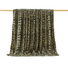 Plaid Leopardato Pile con nappe 210x240 cm Matrimoniale effetto pelliccia N785