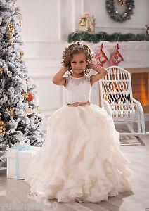 NEW White/IvoryRuffles Wedding Prom Kids Pageant Baby Princess Flower Girl Dress
