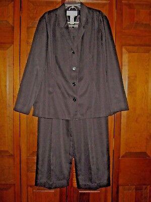 Large Petite Women's Clothing Suits & Suit Separates Frank Liz Claiborne Black Lined Pant Suit Washable Size 12