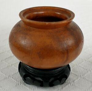 turned hardwood jar / vase & black carved wood base small chinese