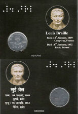 "UNC 2009 Issued Iron & Chromium Coin 2 Rupee ""Louis Braille Birth Centenary"""