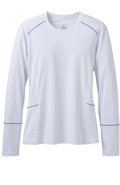 NWT Prana Women's Eileen Long Sleeve Sun Top UPF 50 White Size S