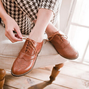 Vintage-Women-Brogues-Lace-Up-Girls-School-Oxford-Flats-Wingtip-Low-Heel-Shoes