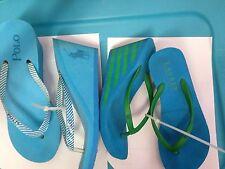 Choice of 1 Polo Ralph Lauren Blue Wedge Flip Flops Sandals Size 8-9 or 9-10