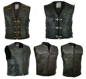 gilet en cuir moto homme gilet cuir de vache motard veste. Black Bedroom Furniture Sets. Home Design Ideas