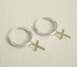 Image Is Loading 925 Sterling Silver Small Plain Drop Dangle Cross