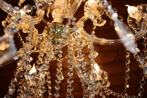 Gold Marie Therese Glass Crystal Chandelier Light Lamp Large Amazing 12 Arm New