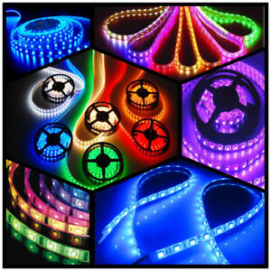 5m-10m-20m-LED-Strip-e-RGB-stripe-Band-streifen-5050-3528-Lichtband-trafo