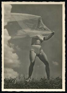 1937-Germany-3rd-Reich-Postcard-German-Hitler-Beach-Beauty-Racy-Risque-Veil-RPPC