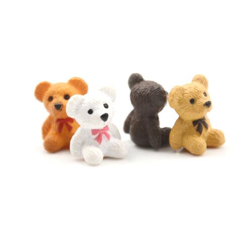4pcs//lot Bear Figures Mini Fairy Garden Animals Statue Miniature AP