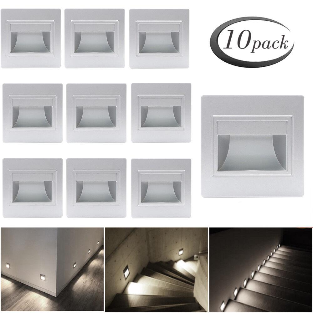 10er 2,5W Kaltweiß 230V LED Wandeinbauleuchte Stufenleuchte Treppenlicht Lampe   Rabatt