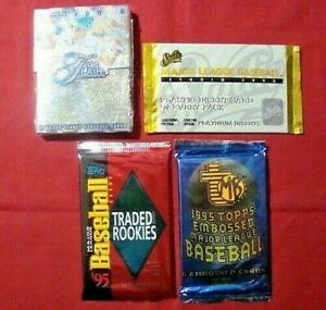 1995 TOPPS BASEBALL CARDS UNOPENED PACKS - LOT of 4 different - FLAIR - Studio +
