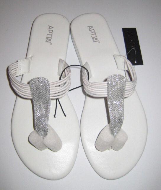 a06245c901ed21 White Sandals Size 7 8 Womens Medium Non Slip TPR Shoes 7 M 7.5 8 ...