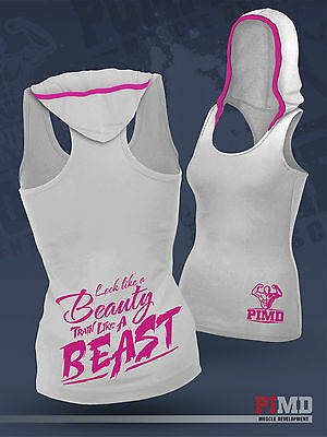 PIMD Women Vest With Hood - White Running Racer Back Gym Sports Top Workout NEW