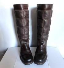 FRYE Vintage Quilted Brown Leather Tall Vibram Riding Boots 6 B 36 MADE IN USA