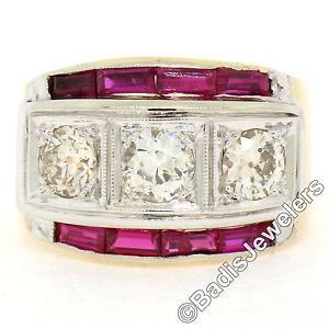 Homme-Retro-Vintage-14K-Rose-or-Blanc-1-65ctw-Diamant-amp-Rubis-Large-3-Stone