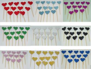 12-Paillettes-Coeur-Cupcake-Toppers-Parti-Decoration-cup-cake-topper-Food-drapeaux