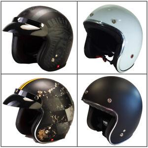 Viper-RS05-Slim-Polycarbonate-Casque-Moto-Casque-Jet-Bol-Retro-Mod-Noir-Blanc