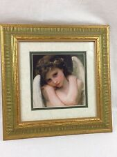 """Angel Cherub Picture Print Double Matted with Gold and Green Frame 11""""x11"""""""