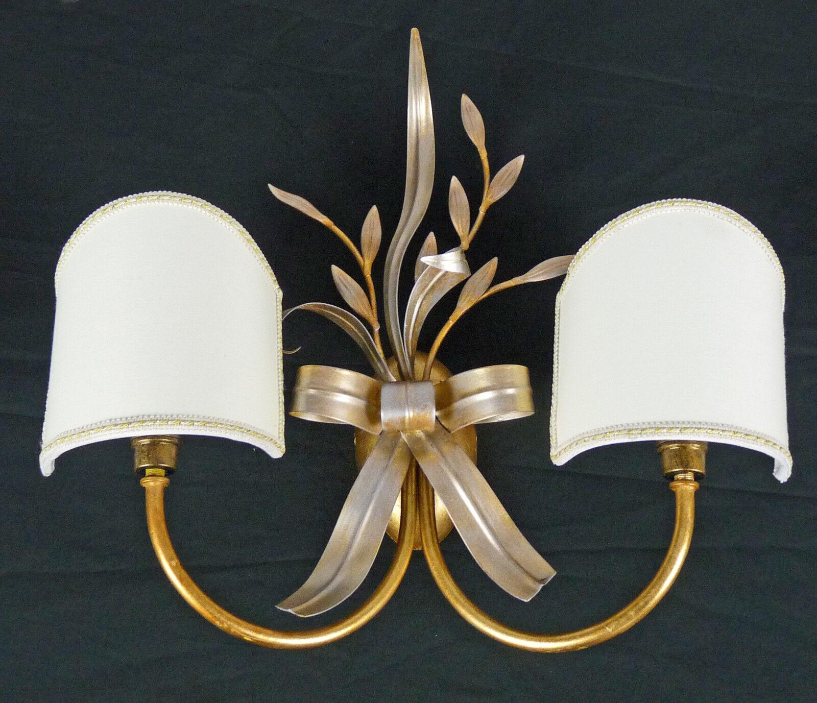 APPLIQUE LAMPADA DA ARGENTO PARETE FOGLIA ORO E ARGENTO DA PARALUME VENTOLINA ART.582 NUOVA 8bce18