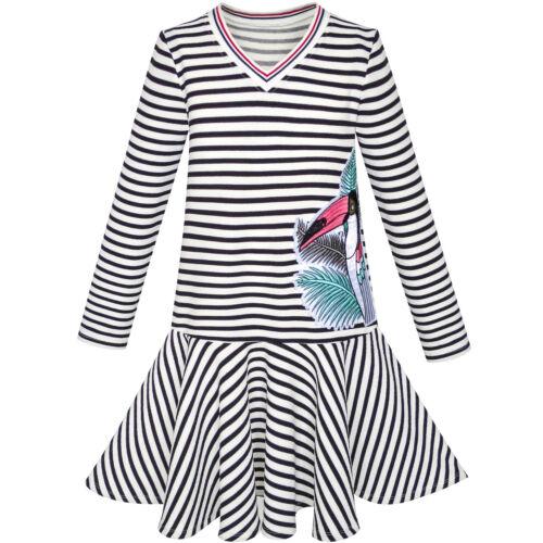 Girls Dress Stripe Long Sleeve Parrot School Uniform Jumper Size 6-12