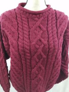Lands-End-Womens-M-Burgundy-Cable-Knit-Wool-England-Fisherman-Chunky-Sweater