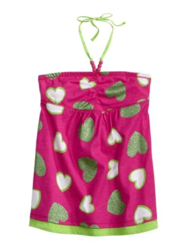 NEW NWT Justice Girls Pink /& Lime Hearts Halter Babydoll Top Tee U Pick
