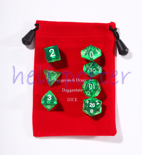 TRPG games Dungeons & Dragons Dice set of 7 Translucent Green with bag option