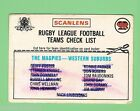 1976 WESTERN SUBURBS MAGPIES RUGBY LEAGUE CHECKLIST CARD, MARKED